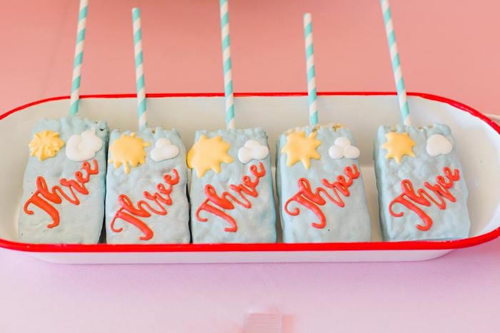 Sky-inspired Rice Krispie Treat Pops from a Peppa Pig Birthday Party on Kara's Party Ideas | KarasPartyIdeas.com (25)