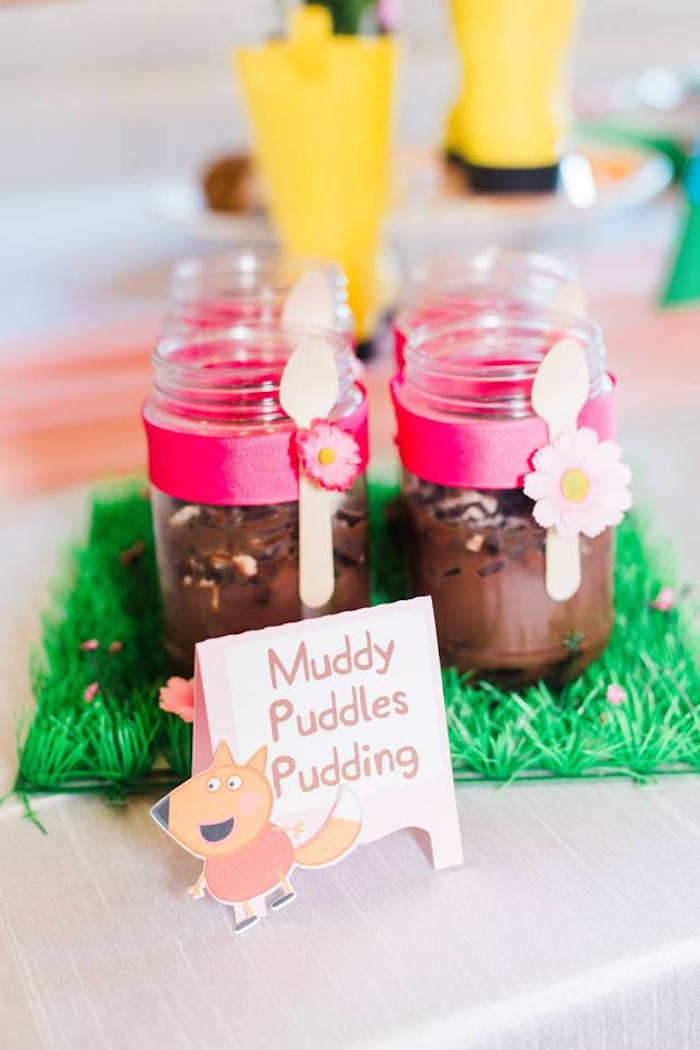 Muddy Puddles Pudding from a Peppa Pig Birthday Party on Kara's Party Ideas | KarasPartyIdeas.com (24)