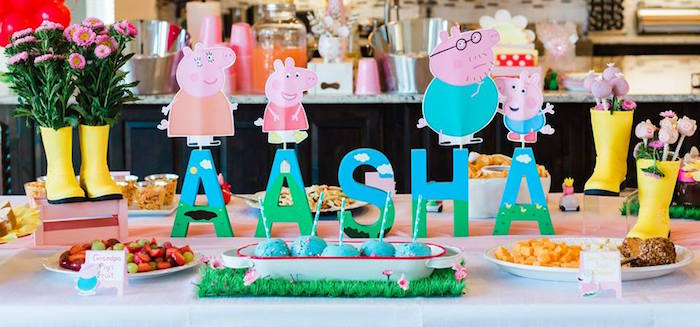 Peppa Pig Themed Food Table from a Peppa Pig Birthday Party on Kara's Party Ideas | KarasPartyIdeas.com (23)