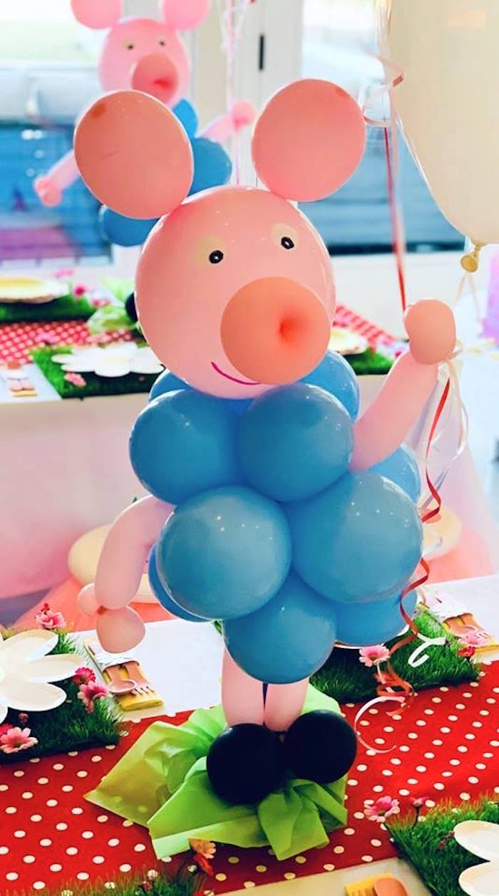 George Pig Balloon Centerpiece from a Peppa Pig Birthday Party on Kara's Party Ideas | KarasPartyIdeas.com (21)