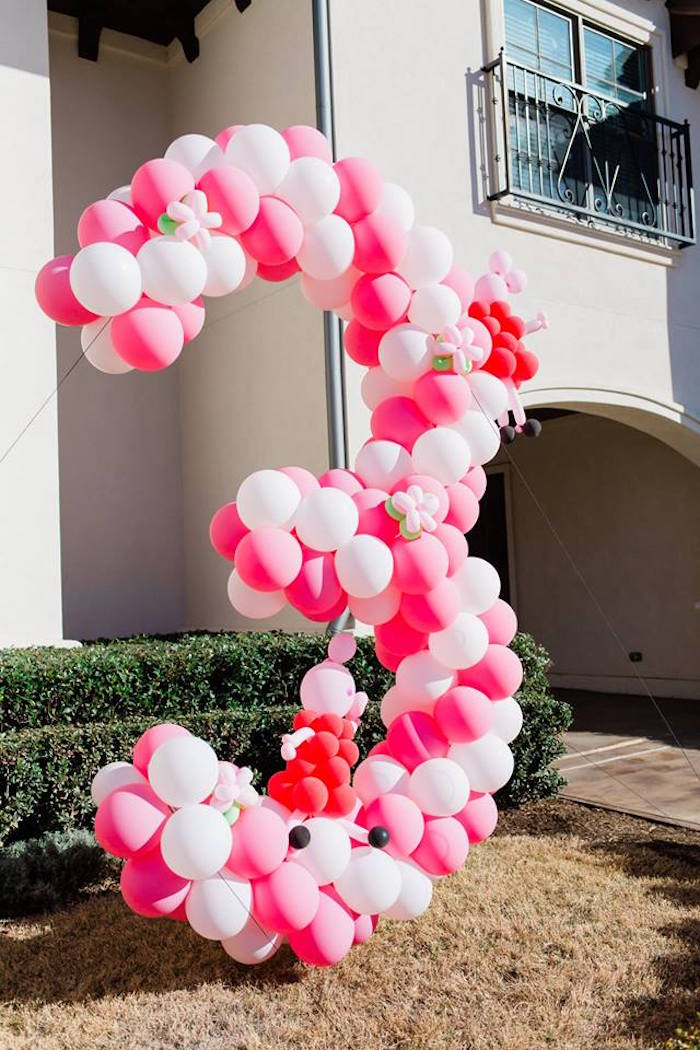 "Peppa Pig-inspired Balloon ""3"" from a Peppa Pig Birthday Party on Kara's Party Ideas 