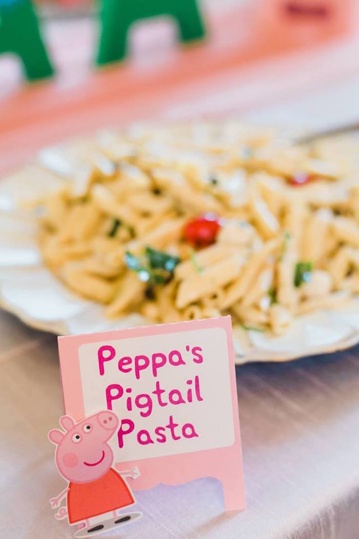 Peppa's Pigtail Pasta + Food Label from a Peppa Pig Birthday Party on Kara's Party Ideas | KarasPartyIdeas.com (17)