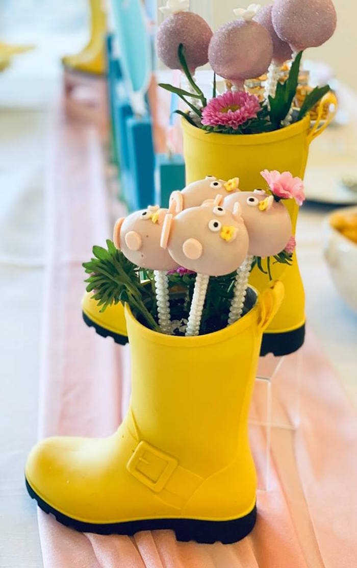 Cake pops in rain boots from a Peppa Pig Birthday Party on Kara's Party Ideas | KarasPartyIdeas.com (15)
