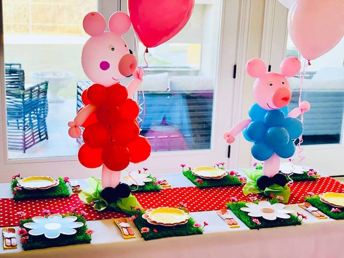 Peppe Pig Kid Dining Table from a Peppa Pig Birthday Party on Kara's Party Ideas | KarasPartyIdeas.com (13)