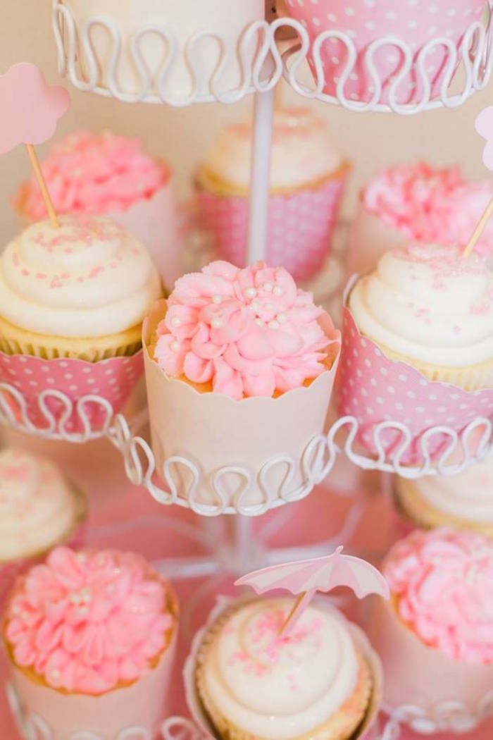 Pink & White-iced Cupcakes from a Peppa Pig Birthday Party on Kara's Party Ideas | KarasPartyIdeas.com (11)