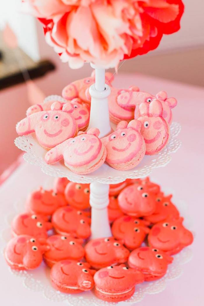 Peppa Pig Macarons from a Peppa Pig Birthday Party on Kara's Party Ideas | KarasPartyIdeas.com (9)