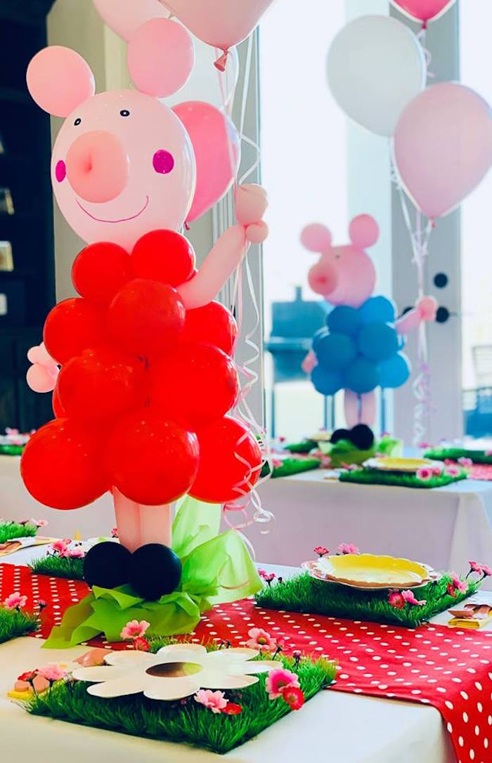 Peppa Pig Balloon Centerpiece from a Peppa Pig Birthday Party on Kara's Party Ideas | KarasPartyIdeas.com (7)