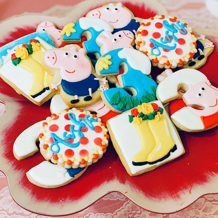 Peppa Pig-inspired Sugar Cookies from a Peppa Pig Birthday Party on Kara's Party Ideas | KarasPartyIdeas.com (5)