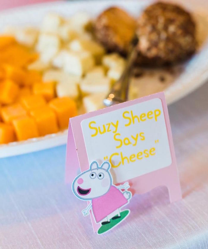 Suzy Sheep Says Cheese - Cheese Plate from a Peppa Pig Birthday Party on Kara's Party Ideas | KarasPartyIdeas.com (39)