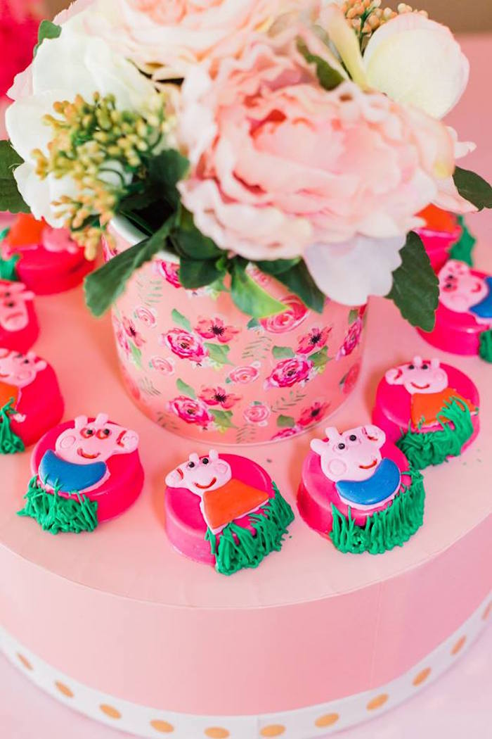Peppa Pig Oreos from a Peppa Pig Birthday Party on Kara's Party Ideas | KarasPartyIdeas.com (38)