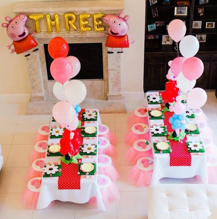 Peppa Pig Party Tables from a Peppa Pig Birthday Party on Kara's Party Ideas | KarasPartyIdeas.com (35)