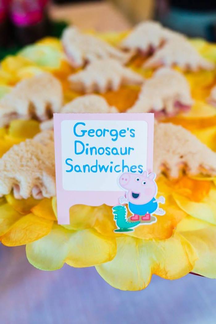 George's Dinosaur Sandwiches from a Peppa Pig Birthday Party on Kara's Party Ideas | KarasPartyIdeas.com (33)