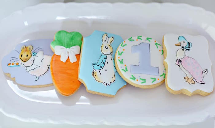Peter Rabbit Cookies from a Peter Rabbit Birthday Party on Kara's Party Ideas | KarasPartyIdeas.com (8)
