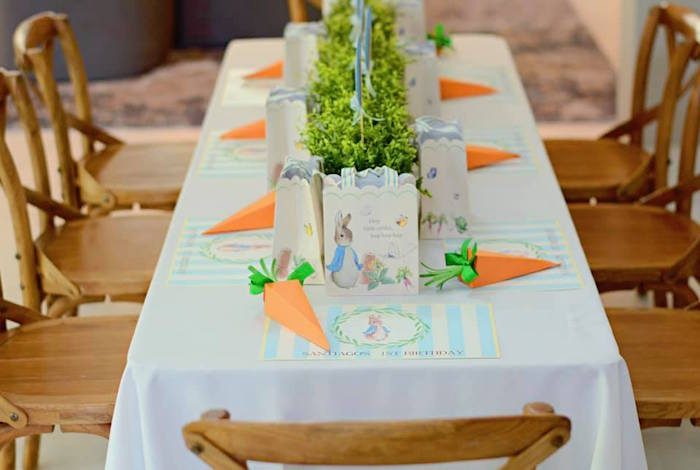 Peter Rabbit Party Table from a Peter Rabbit Birthday Party on Kara's Party Ideas | KarasPartyIdeas.com (6)