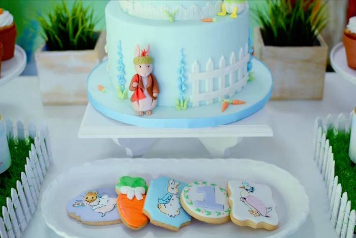 Peter Rabbit Cake + Cookies from a Peter Rabbit Birthday Party on Kara's Party Ideas | KarasPartyIdeas.com (4)