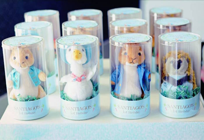 Plush Beatrix Potter Storybook Character Favors from a Peter Rabbit Birthday Party on Kara's Party Ideas | KarasPartyIdeas.com (17)