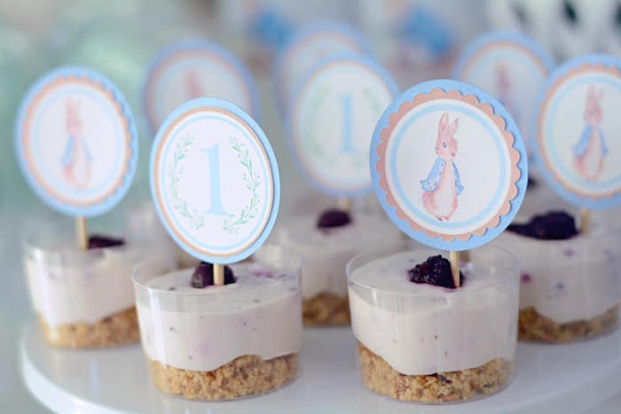 Peter Rabbit Dessert Cups from a Peter Rabbit Birthday Party on Kara's Party Ideas | KarasPartyIdeas.com (16)