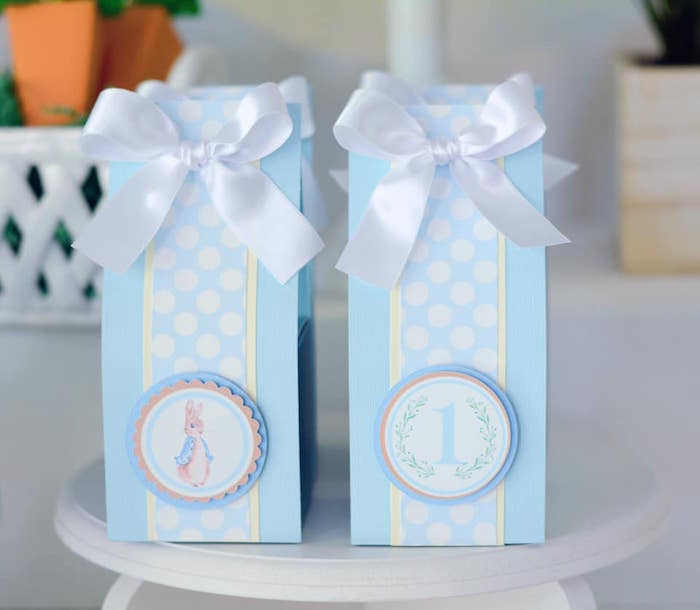 Peter Rabbit Themed Gift Sacks from a Peter Rabbit Birthday Party on Kara's Party Ideas | KarasPartyIdeas.com (12)