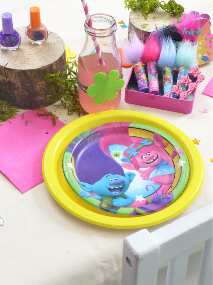 Trolls Themed Table Setting + Favor from a Trolls Themed Spa Party for Girls on Kara's Party Ideas | KarasPartyIdeas.com