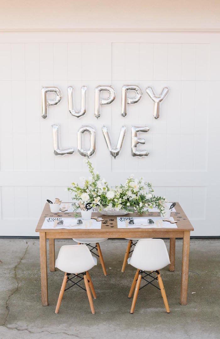 Puppy Love Party Table from a Puppy Party on Kara's Party Ideas | KarasPartyIdeas.com (35)