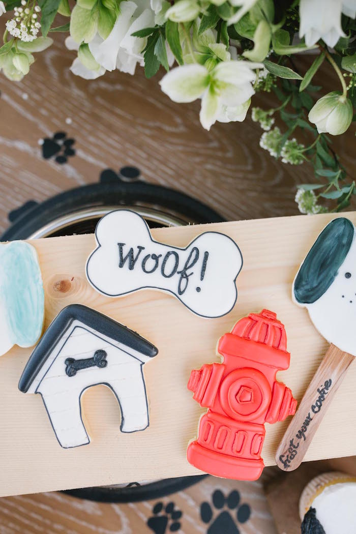 Dog Themed Sugar Cookies from a Puppy Party on Kara's Party Ideas | KarasPartyIdeas.com (12)