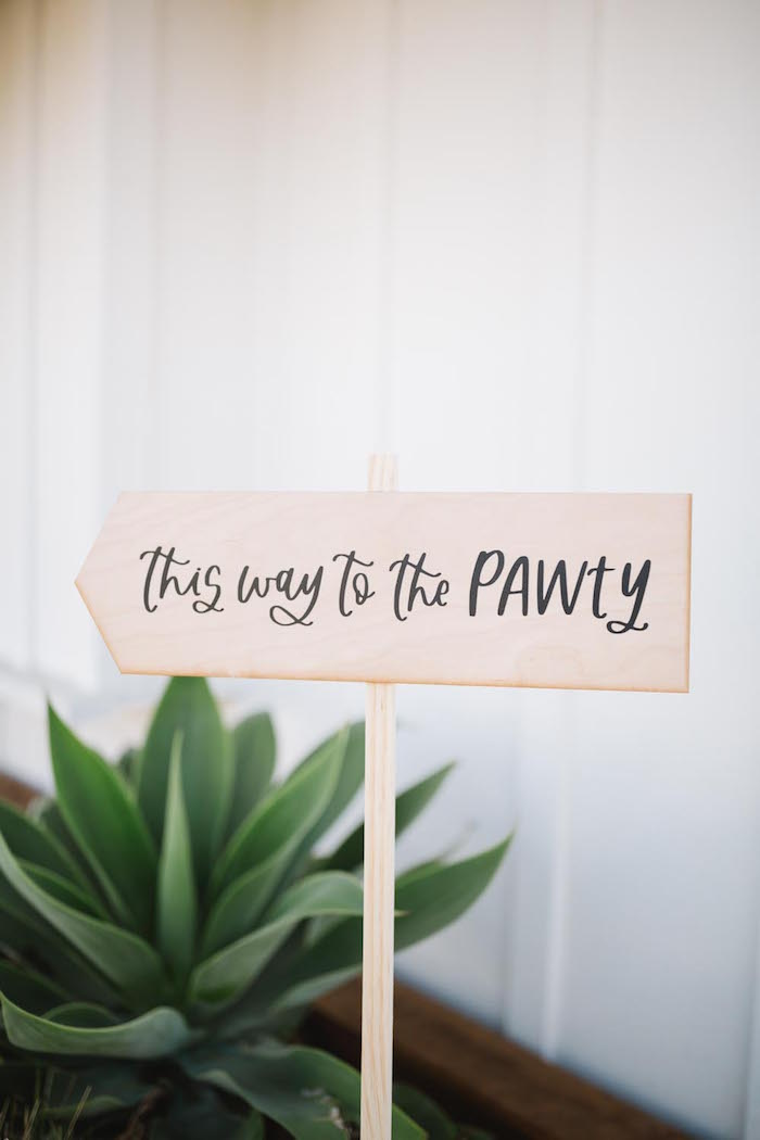 This way to the PAWTY Wooden Directional Sign from a Puppy Party on Kara's Party Ideas | KarasPartyIdeas.com (8)