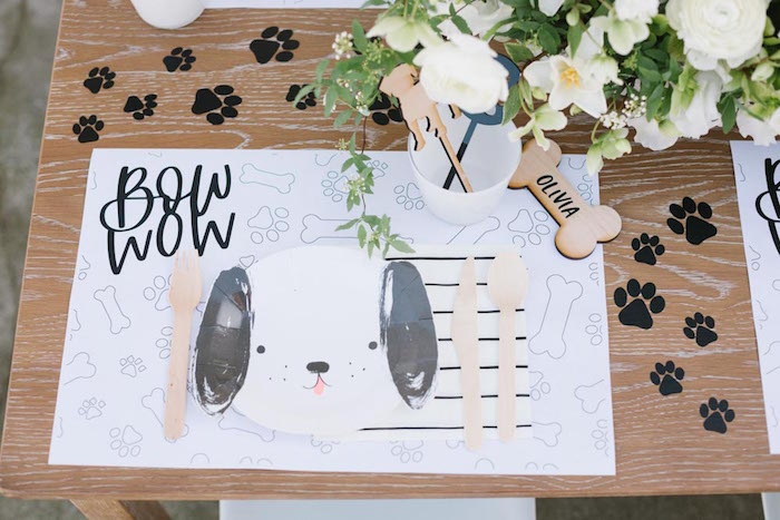 Bow Wow Puppy Place Setting from a Puppy Party on Kara's Party Ideas | KarasPartyIdeas.com (32)
