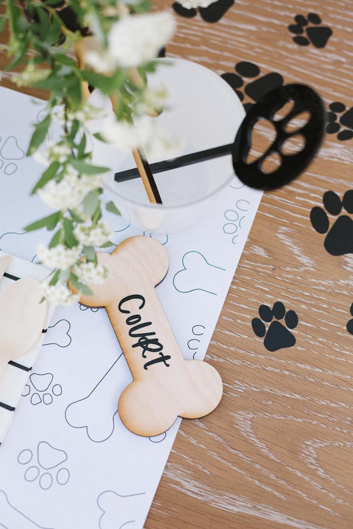 Wooden Dog Bone Place Card from a Puppy Party on Kara's Party Ideas | KarasPartyIdeas.com (31)