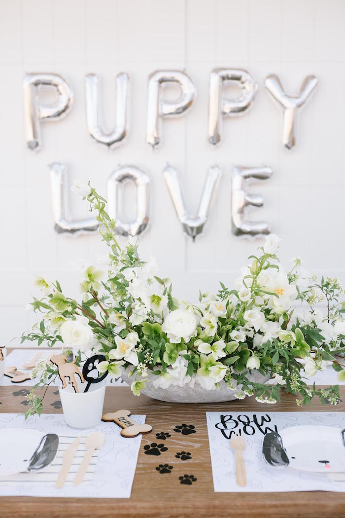 Pretty Puppy Love Party Table from a Puppy Party on Kara's Party Ideas | KarasPartyIdeas.com (28)