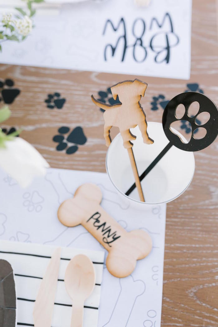 Wooden Dog Bone Place Card + Drink Stirrers from a Puppy Party on Kara's Party Ideas | KarasPartyIdeas.com (27)