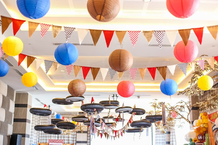 Paper Lantern + Pennant Banner + Inflatable Tire Ceiling from a Radiator Springs Cars Birthday Party on Kara's Party Ideas | KarasPartyIdeas.com (30)