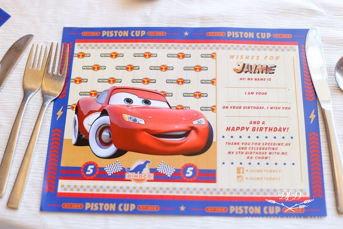 Lightning McQueen - Piston Cup Placemat from a Radiator Springs Cars Birthday Party on Kara's Party Ideas | KarasPartyIdeas.com (25)