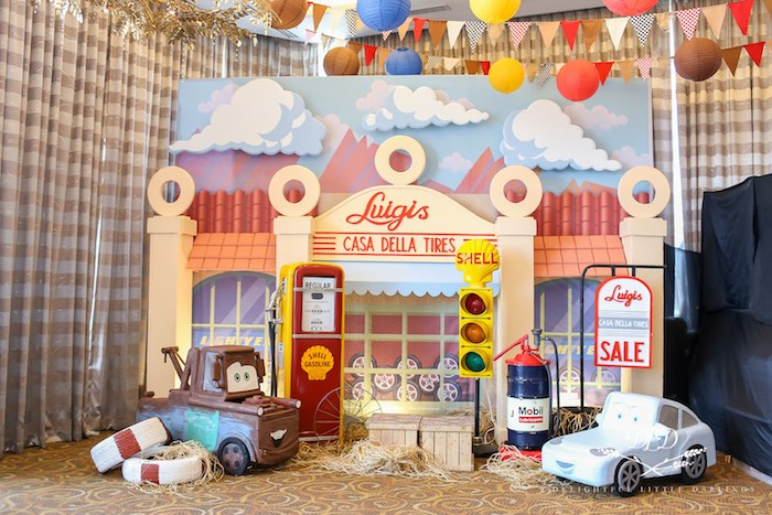 Luigi's Tire Shop Backdrop from a Radiator Springs Cars Birthday Party on Kara's Party Ideas | KarasPartyIdeas.com (24)