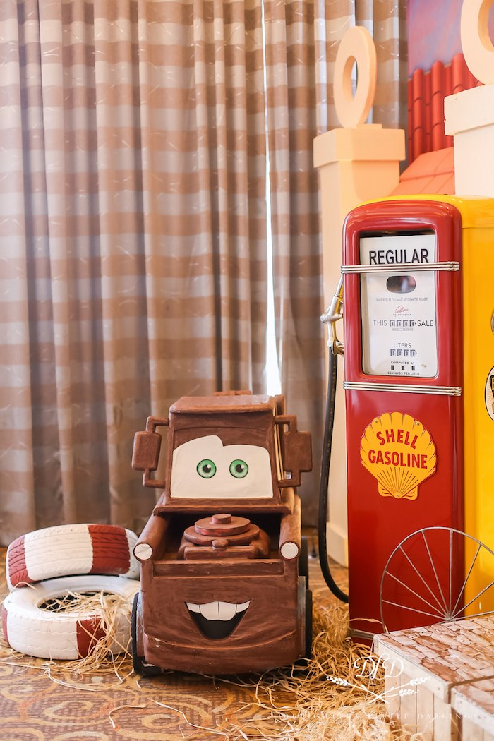 Mater + Vintage Gas Pump from a Radiator Springs Cars Birthday Party on Kara's Party Ideas | KarasPartyIdeas.com (23)