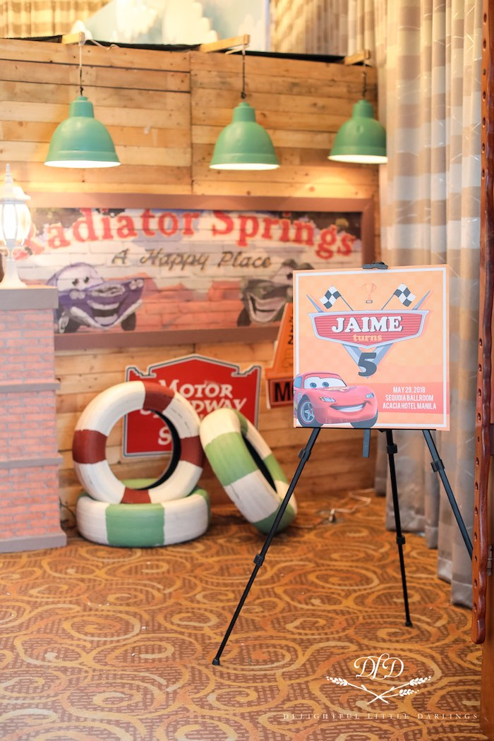 Radiator Springs Welcome Signage + Party Entrance from a Radiator Springs Cars Birthday Party on Kara's Party Ideas | KarasPartyIdeas.com (39)