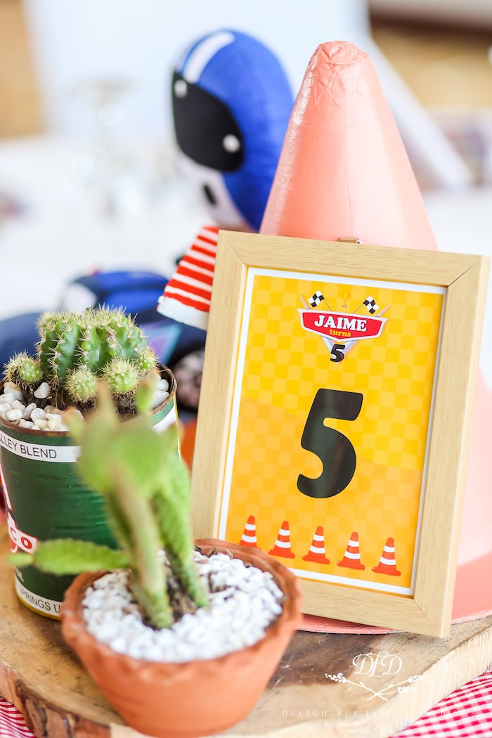 Custom Cars Party Table Number from a Radiator Springs Cars Birthday Party on Kara's Party Ideas | KarasPartyIdeas.com (17)