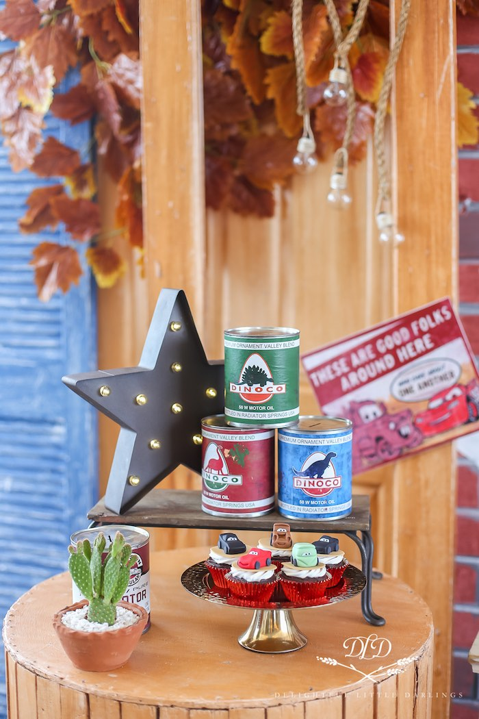 Vintage Oil Can Mini Sweet Table from a Radiator Springs Cars Birthday Party on Kara's Party Ideas | KarasPartyIdeas.com (14)