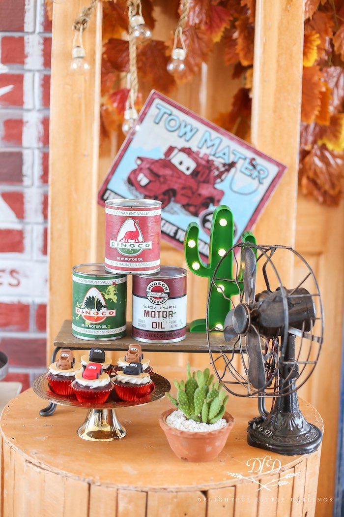 Vintage Oil Cans + Mini Sweet Table from a Radiator Springs Cars Birthday Party on Kara's Party Ideas | KarasPartyIdeas.com (13)