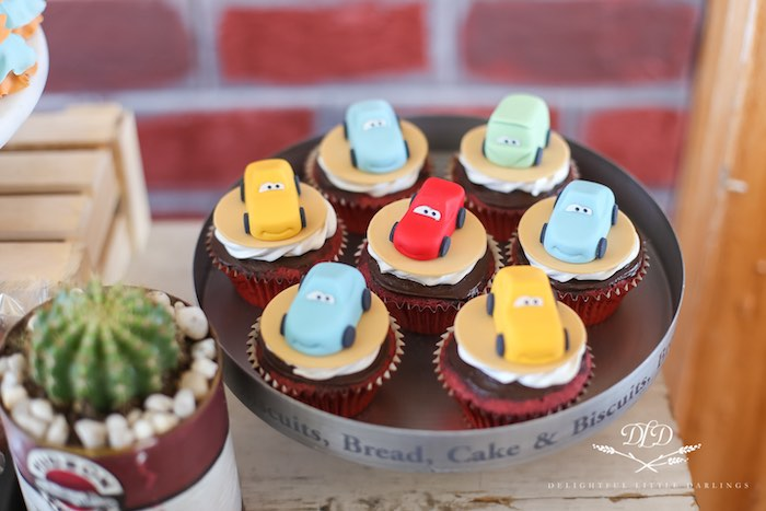 Cars Cupcakes from a Radiator Springs Cars Birthday Party on Kara's Party Ideas | KarasPartyIdeas.com (12)