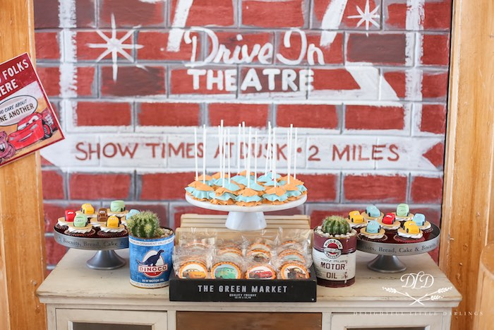 Drive In Dessert Table from a Radiator Springs Cars Birthday Party on Kara's Party Ideas | KarasPartyIdeas.com (11)