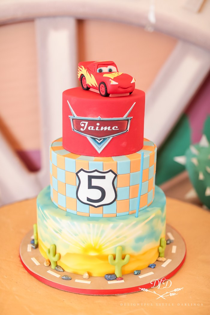 Cars Themed Birthday Cake from a Radiator Springs Cars Birthday Party on Kara's Party Ideas | KarasPartyIdeas.com (38)