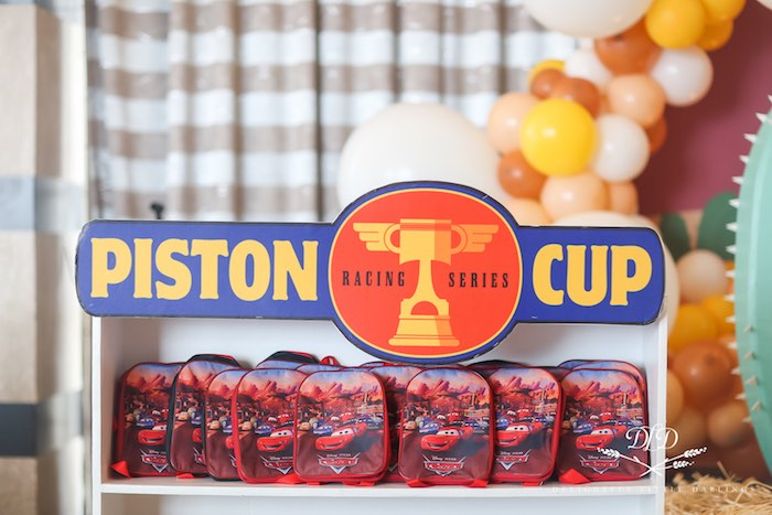 Piston Cup Favor Shelf from a Radiator Springs Cars Birthday Party on Kara's Party Ideas | KarasPartyIdeas.com (9)