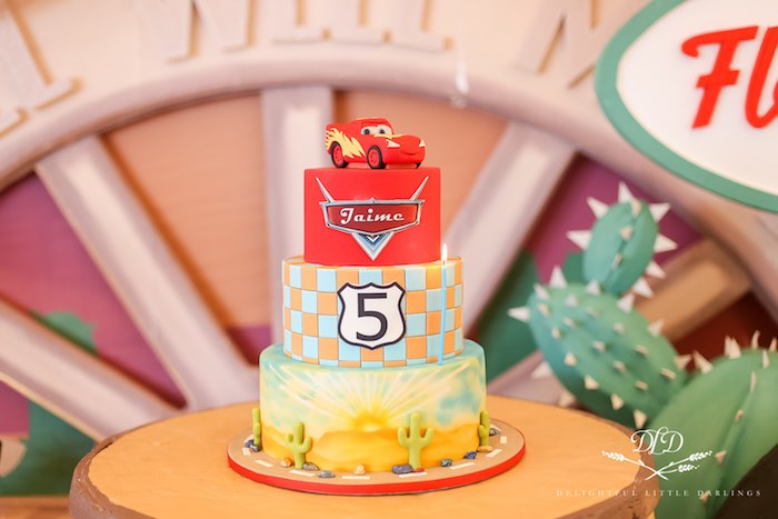 Cars Themed Birthday Cake from a Radiator Springs Cars Birthday Party on Kara's Party Ideas | KarasPartyIdeas.com (8)