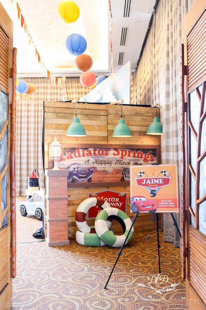 Radiator Springs Welcome Signage + Party Entrance from a Radiator Springs Cars Birthday Party on Kara's Party Ideas | KarasPartyIdeas.com (37)