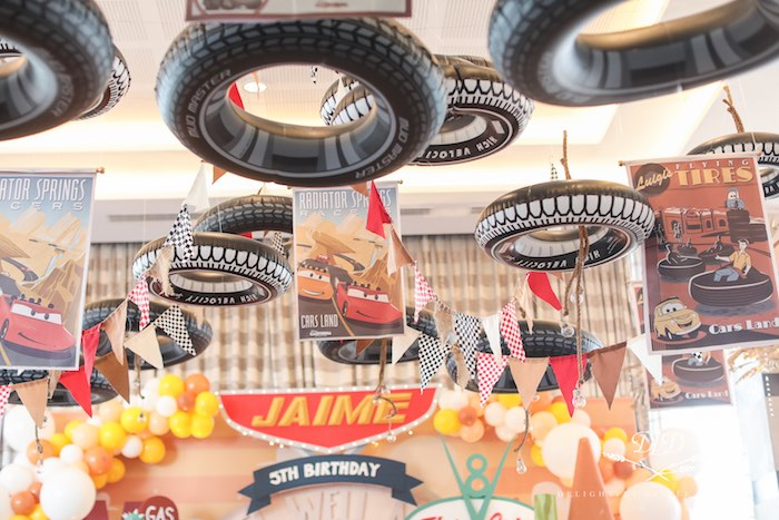 Inflatable Tire Ceiling from a Radiator Springs Cars Birthday Party on Kara's Party Ideas | KarasPartyIdeas.com (34)