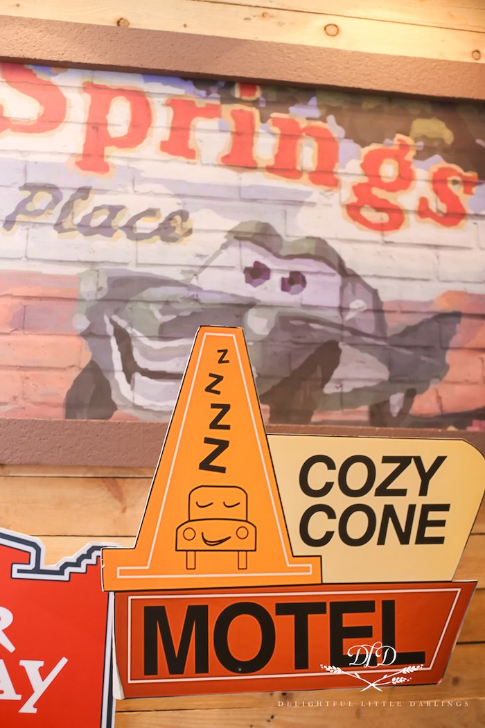 Cozy Cone Motel Signage from a Radiator Springs Cars Birthday Party on Kara's Party Ideas | KarasPartyIdeas.com (33)