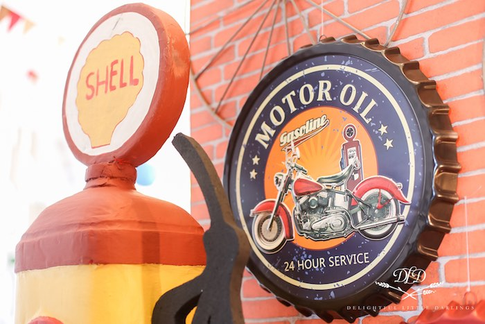 Vintage Motor Oil Cap Sign from a Radiator Springs Cars Birthday Party on Kara's Party Ideas | KarasPartyIdeas.com (31)