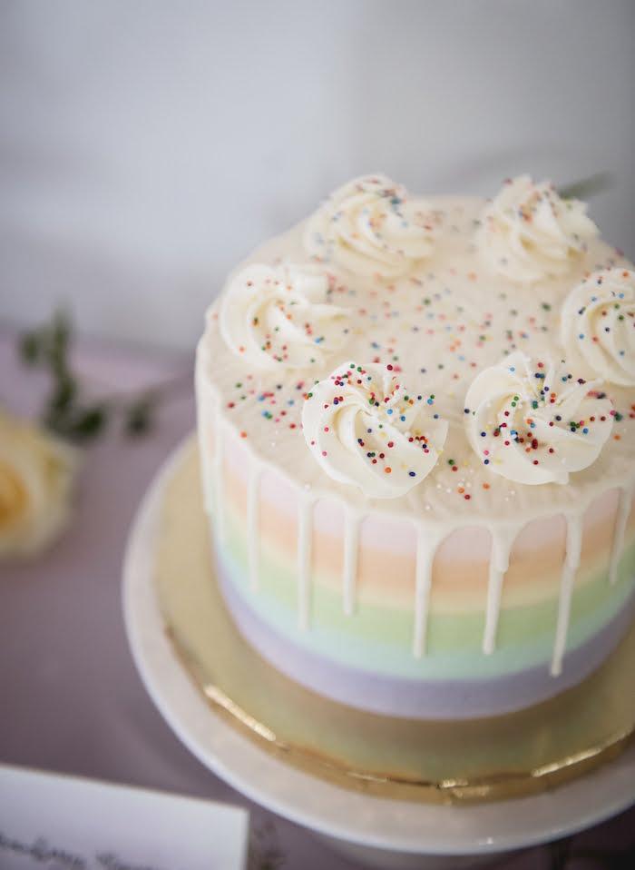 Rainbow Drip Cake topped with Meringues from a Rainbow Unicorn Birthday Party on Kara's Party Ideas   KarasPartyIdeas.com (17)