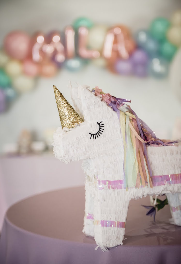 Unicorn Pinata from a Rainbow Unicorn Birthday Party on Kara's Party Ideas | KarasPartyIdeas.com (13)