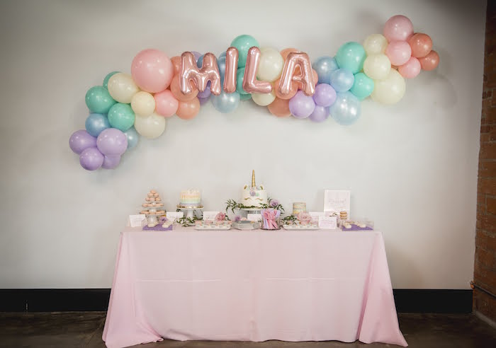 Rainbow Unicorn Themed Dessert Table from a Rainbow Unicorn Birthday Party on Kara's Party Ideas | KarasPartyIdeas.com (11)